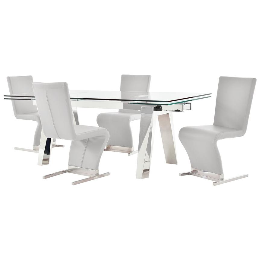 Madox/Zoey White 5-Piece Formal Dining Set  main image, 1 of 12 images.