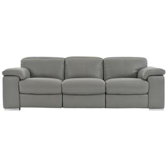 Charlie Gray Power Motion Leather Sofa