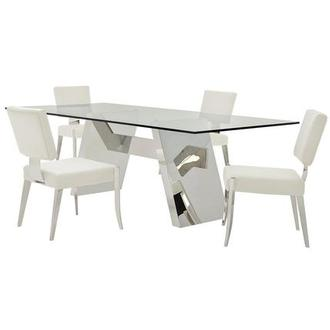 Lulu/Tina White 5-Piece Formal Dining Set