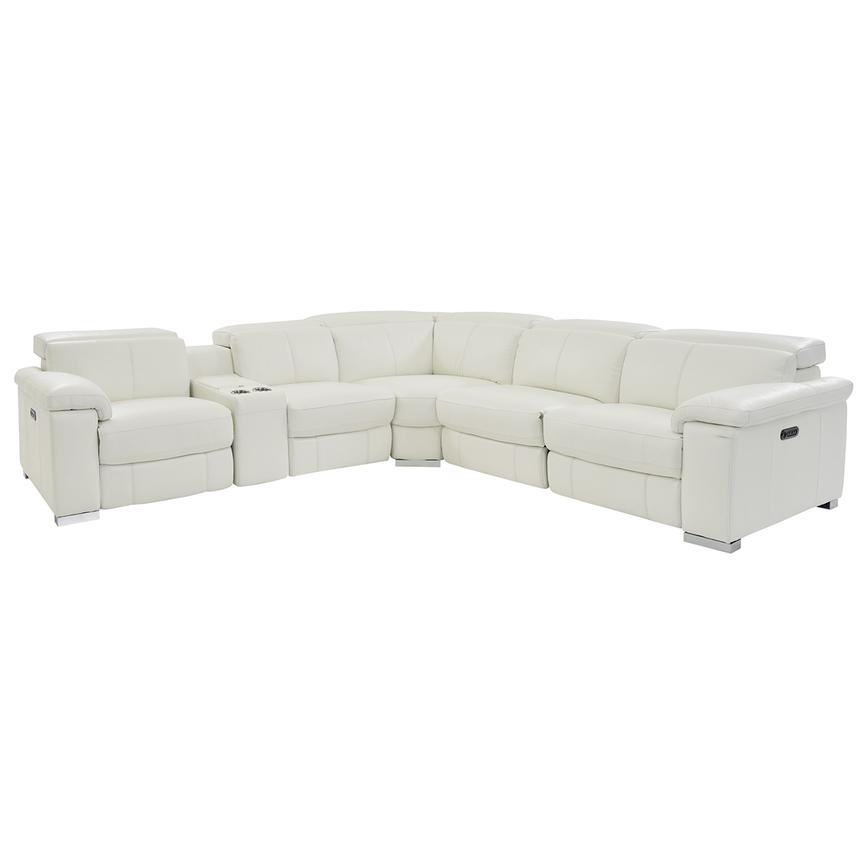Charlie White Power Motion Leather Sofa w/Right & Left Recliners  main image, 1 of 9 images.