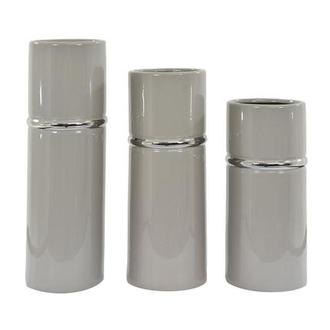 Tress Silver Set of 3 Vases
