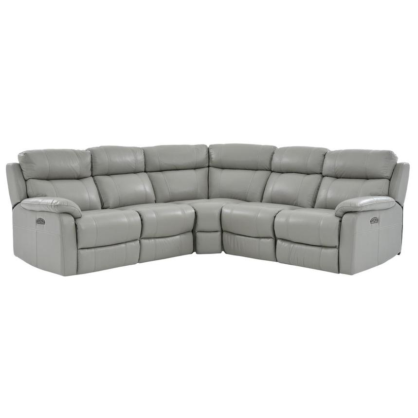 Ronald Gray Power Motion Leather Sofa w/Right & Left Recliners  main image, 1 of 6 images.