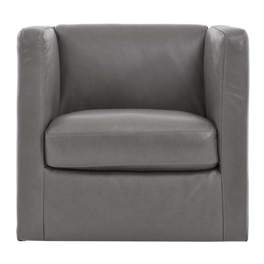 Cute Light Gray Leather Swivel Chair  main image, 1 of 6 images.