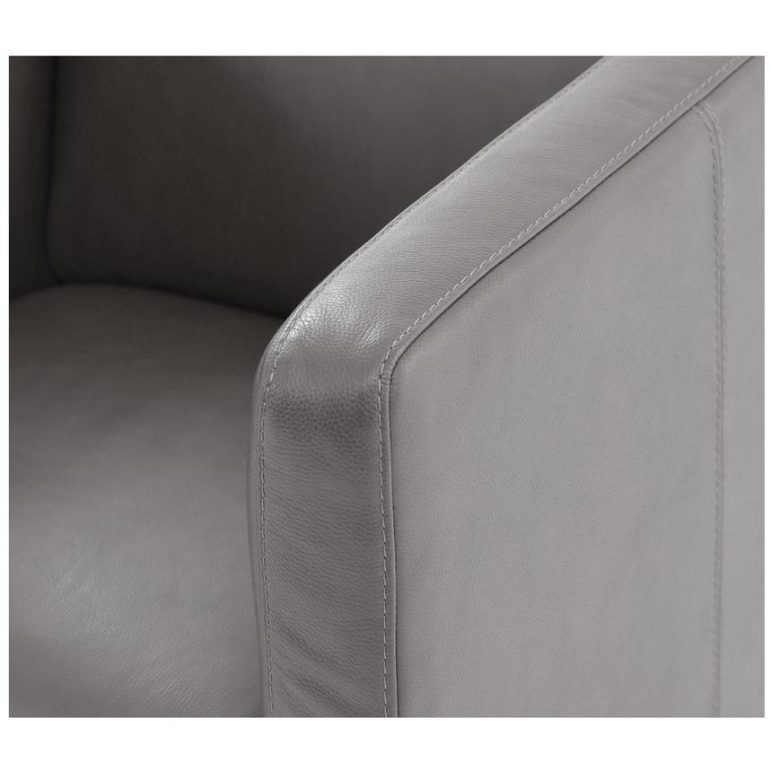 Cute Light Gray Leather Swivel Chair  alternate image, 6 of 6 images.