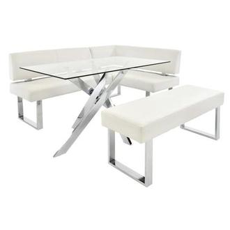 Linden Clear/White Corner Nook Set w/Bench