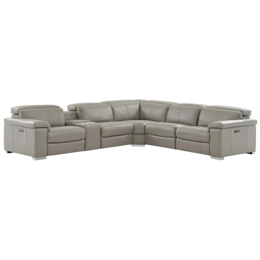 Charlie Light Gray Power Motion Leather Sofa w/Right & Left Recliners  main image, 1 of 10 images.