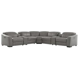 Jay Gray Power Motion Leather Sofa w/Right & Left Recliners