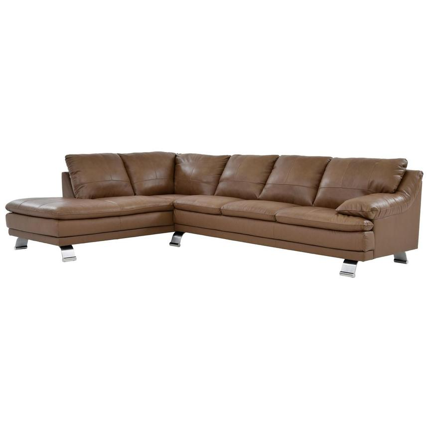 Rio Tan Leather Sofa w/Left Chaise  main image, 1 of 6 images.