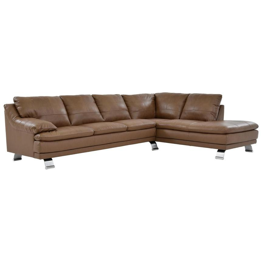 Rio Tan Leather Sofa w/Right Chaise  main image, 1 of 6 images.