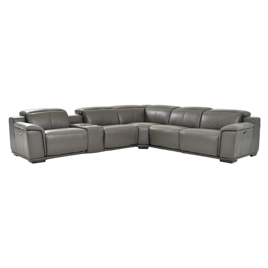 Davis 2.0 Gray Power Motion Leather Sofa w/Right & Left Recliners  main image, 1 of 7 images.