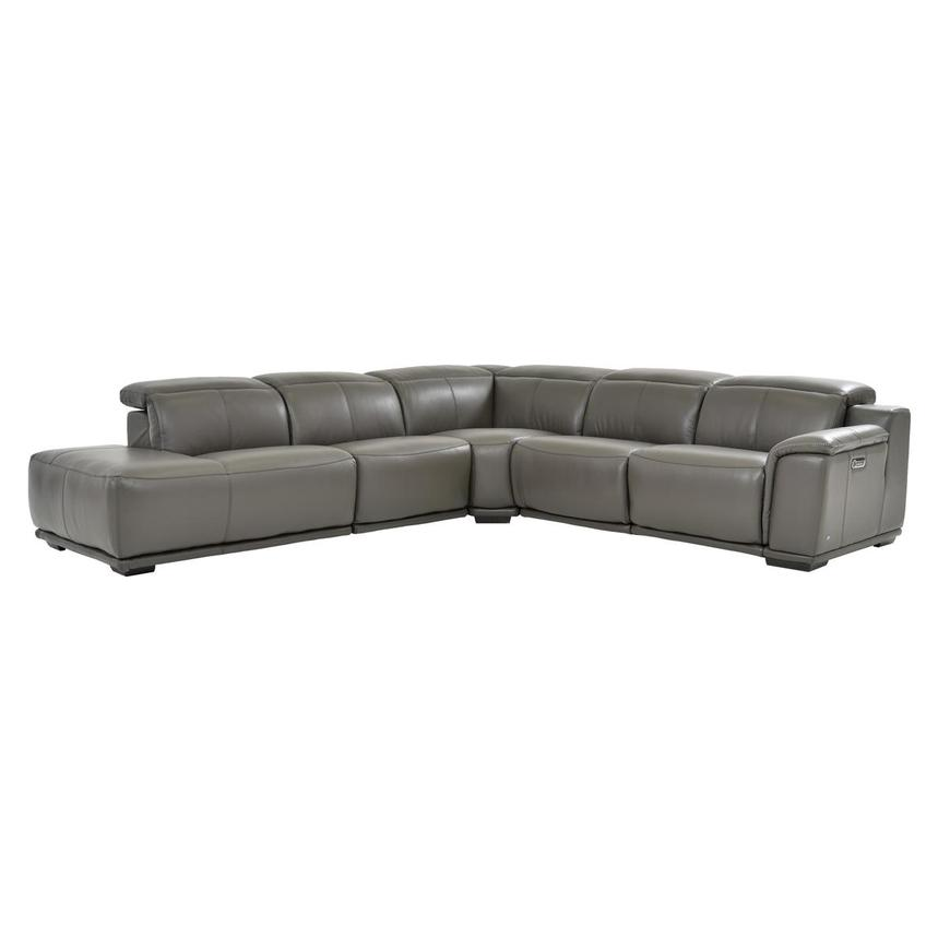 Davis 2.0 Gray Power Motion Leather Sofa w/Left Chaise  main image, 1 of 6 images.
