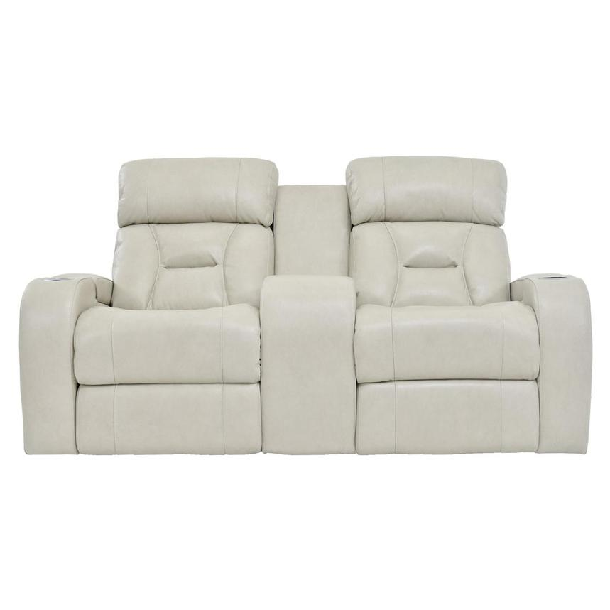 Gio Cream Power Motion Leather Sofa w/Console  main image, 1 of 10 images.