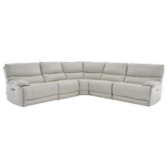 Mumble Gray Power Motion Leather Sofa w/Right & Left Recliners