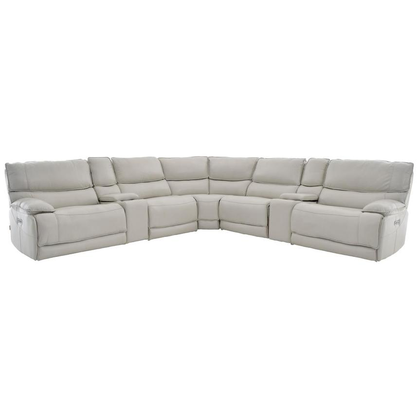 Mumble Gray Power Motion Leather Sofa w/Right & Left Recliners  main image, 1 of 8 images.