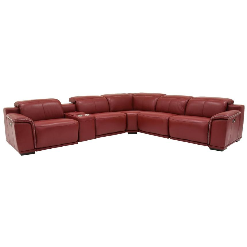 Davis 2.0 Red Power Motion Leather Sofa w/Right & Left Recliners  main image, 1 of 7 images.