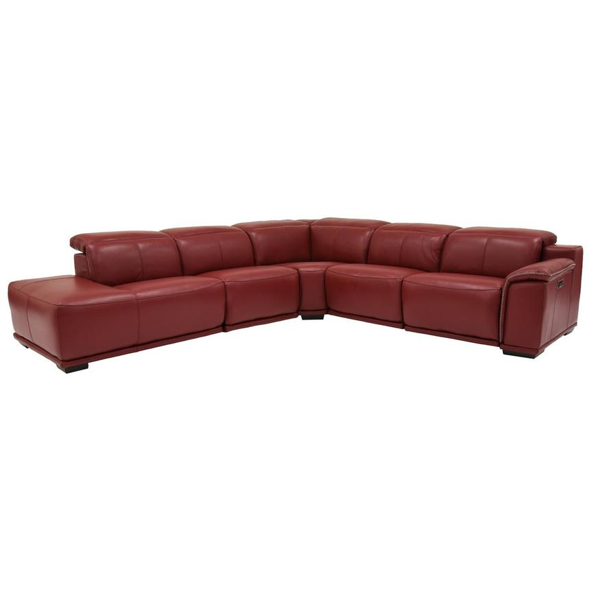 Davis 2.0 Red Power Motion Leather Sofa w/Left Chaise  main image, 1 of 6 images.
