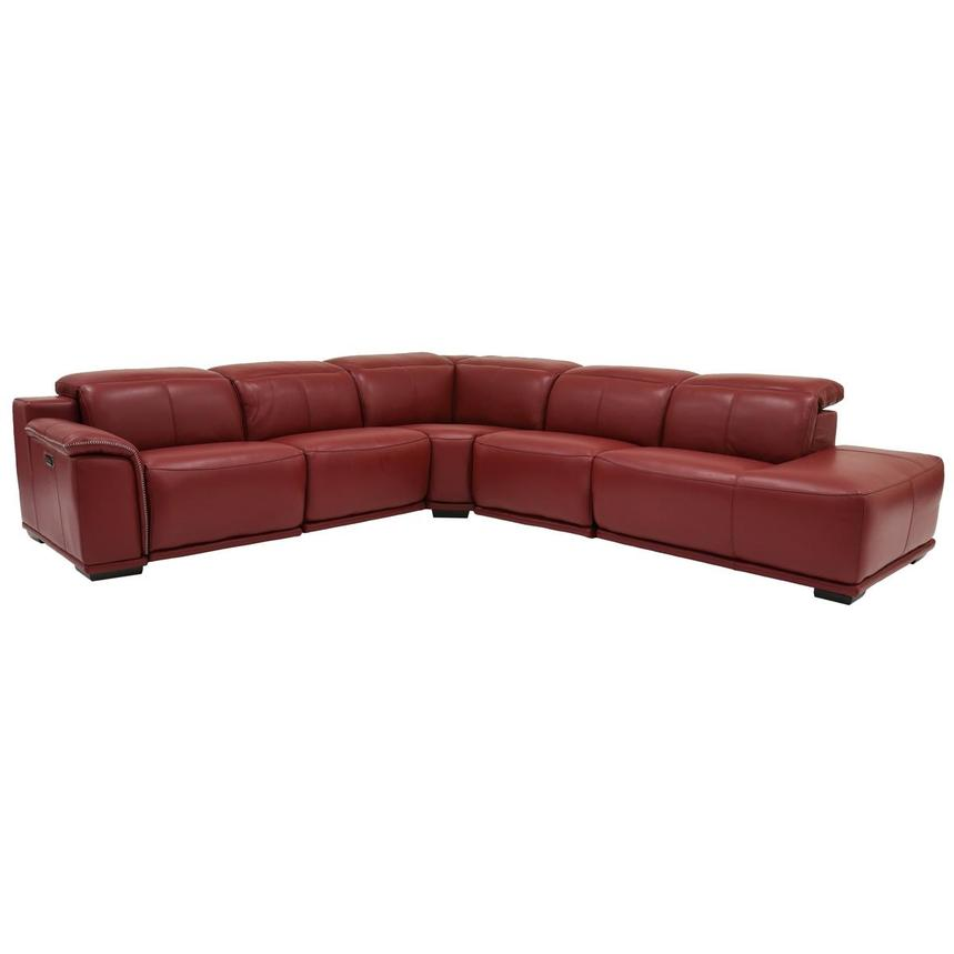 Davis 2.0 Red Power Motion Leather Sofa w/Right Chaise  main image, 1 of 6 images.