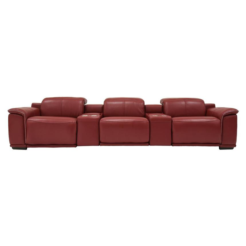 Davis 2.0 Red Home Theater Leather Seating  main image, 1 of 8 images.