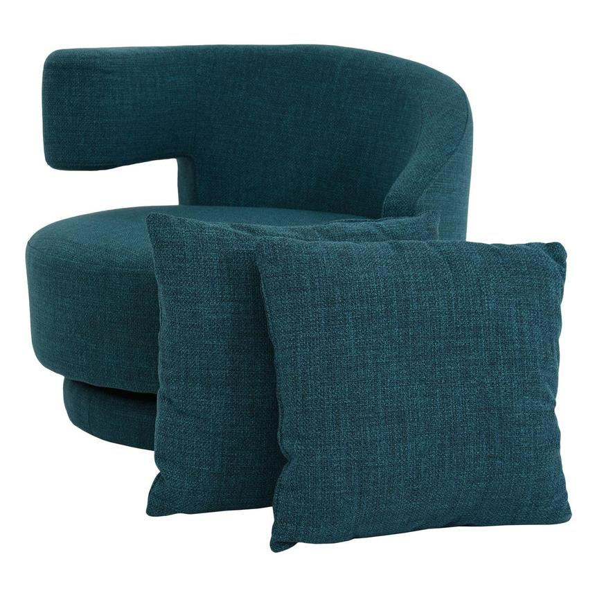 Okru Blue Swivel Chair w/2 Pillows  main image, 1 of 10 images.
