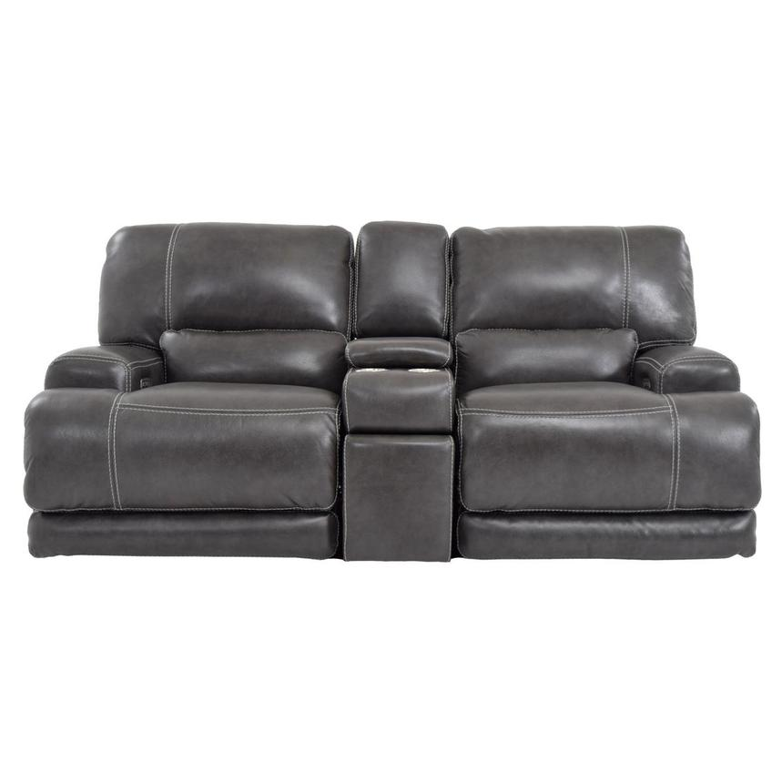 Cody Gray Power Motion Leather Loveseat w/Console  main image, 1 of 11 images.