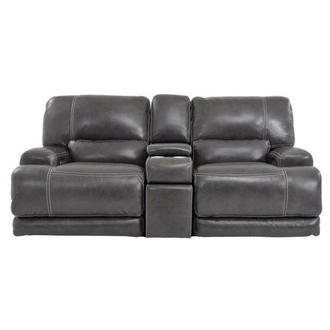 Cody Gray Power Motion Leather Loveseat w/Console