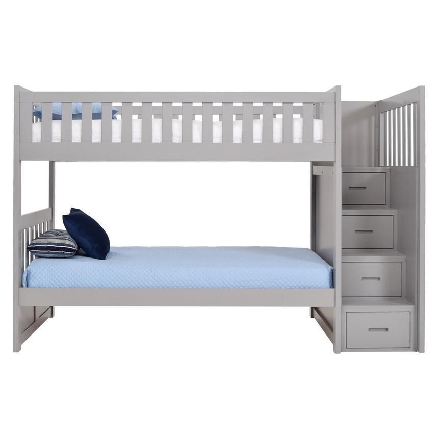 Balto Gray Twin Over Twin Bunk Bed W Storage El Dorado Furniture