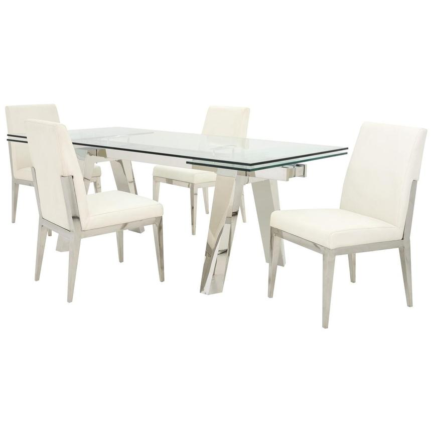 Madox/Met White 5-Piece Formal Dining Set  main image, 1 of 13 images.