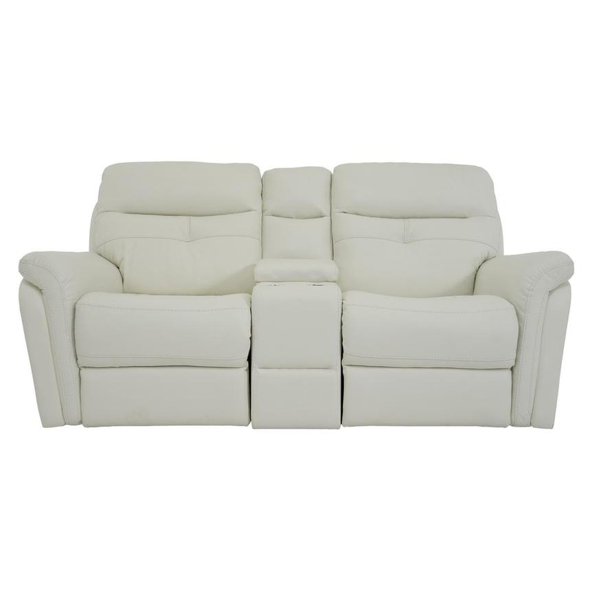 Zane Cream Power Motion Leather Sofa w/Console  main image, 1 of 10 images.