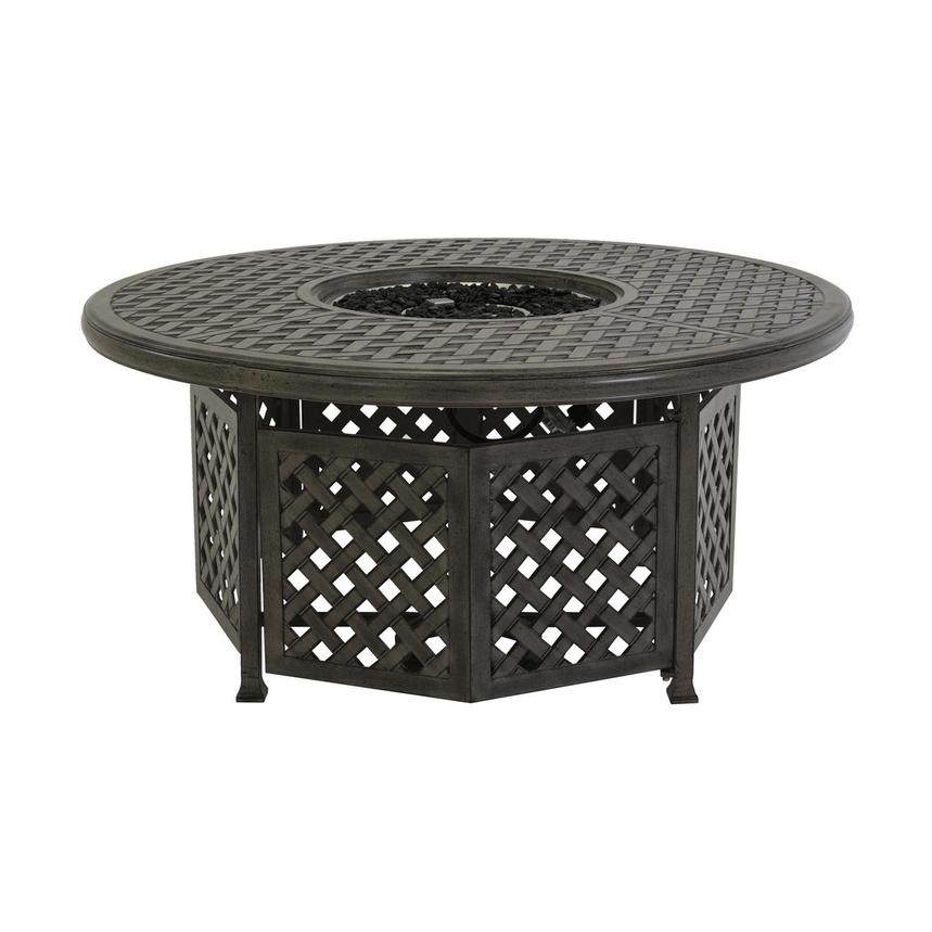 Castle Rock Gray Round Dining Table w/ Fire Pit  main image, 1 of 6 images.