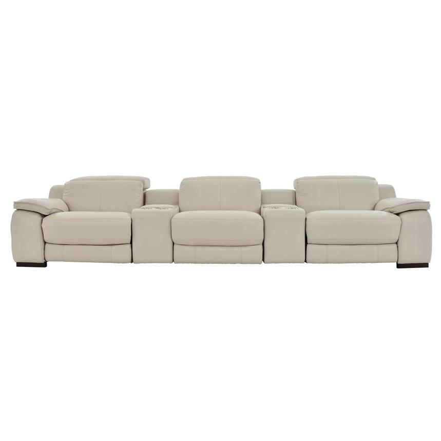 Gian Marco Cream Home Theater Leather Seating
