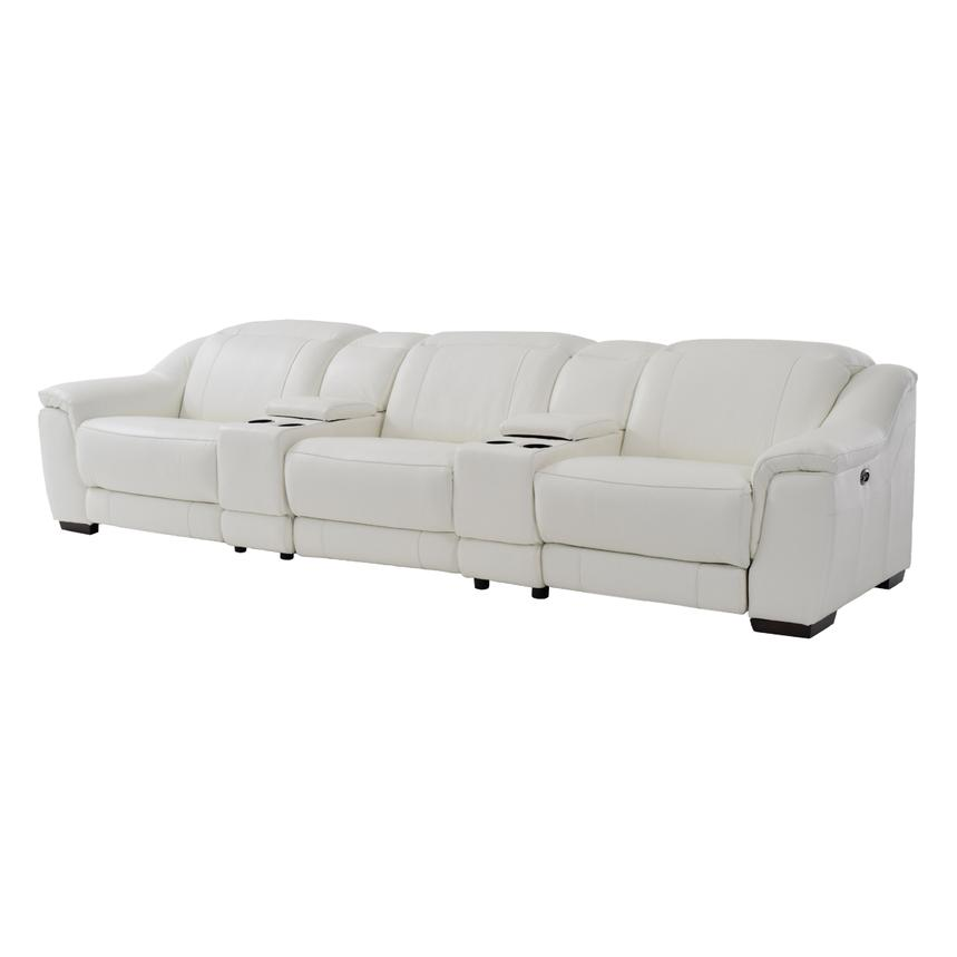 Davis White Home Theater Leather Seating