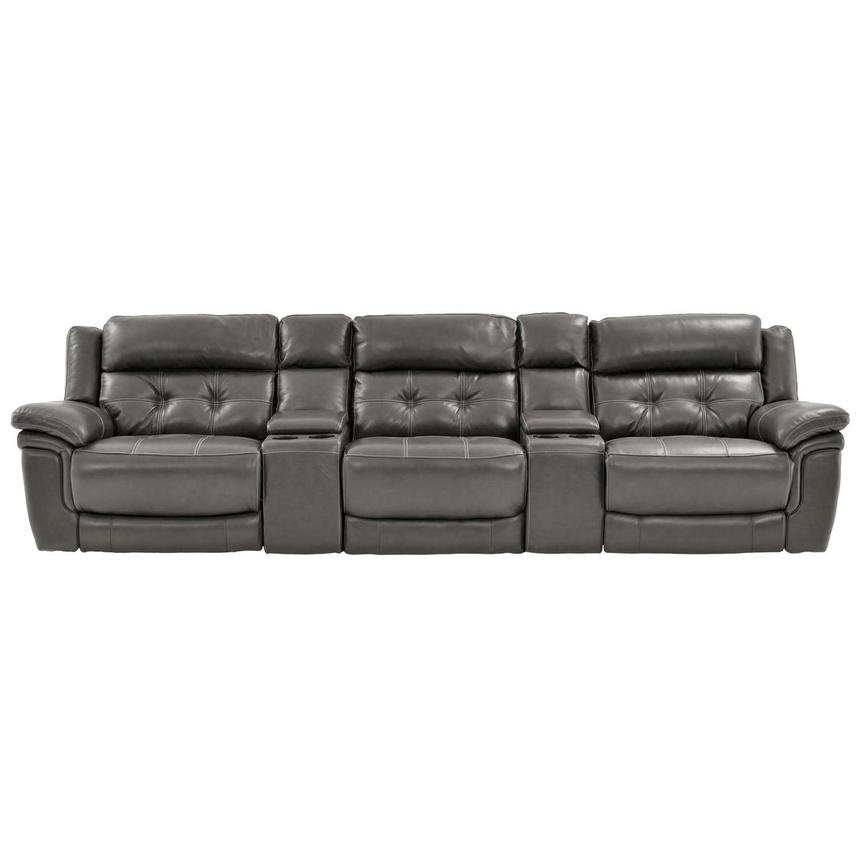 Stallion Gray Home Theater Leather Seating  main image, 1 of 8 images.