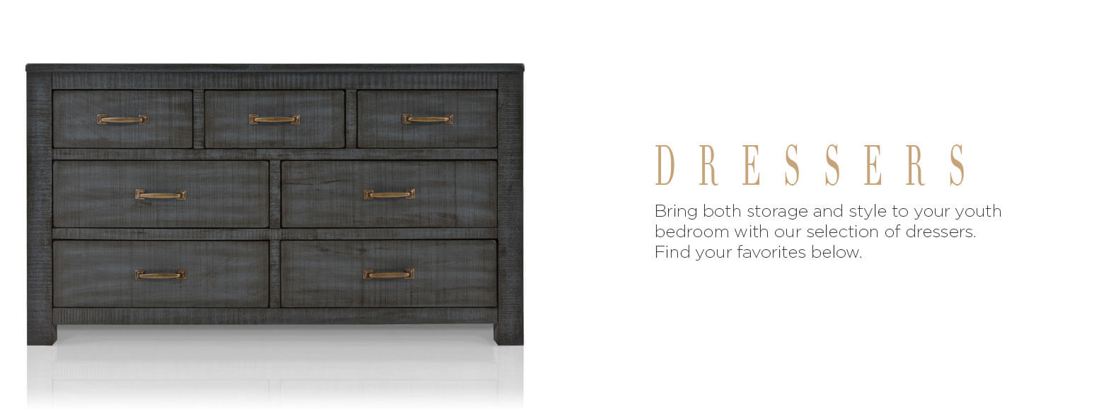 Dressers. Bring both storage and style to your youth bedroom with our selection of dressers. Find your favorites below.