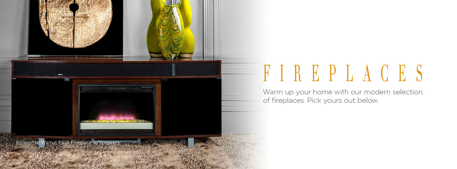 Fireplaces. Warm up your home with our modern selection of fireplaces. Pick yours out below. Enterprise Walnut Faux Fireplace with Speakers.
