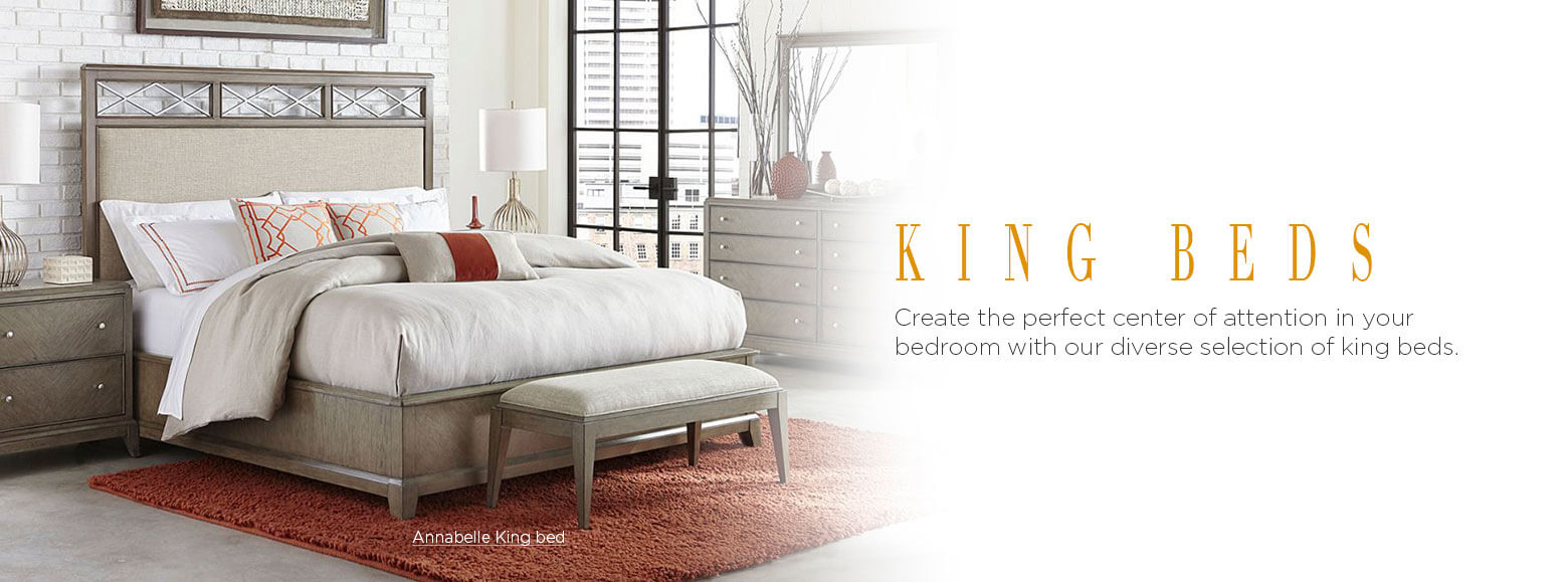 King beds. Create the perfect center of attention in your bedroom with our diverse selection of king beds. Annabelle King Platform Bed.