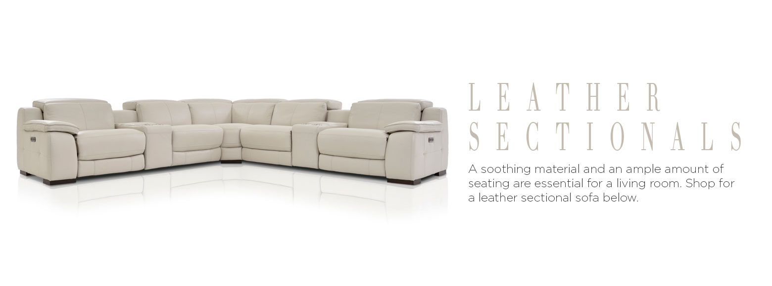 Leather sectionals. A soothing material and an ample amount of seating are essential for a living room. Shop for a leather sectional sofa below.