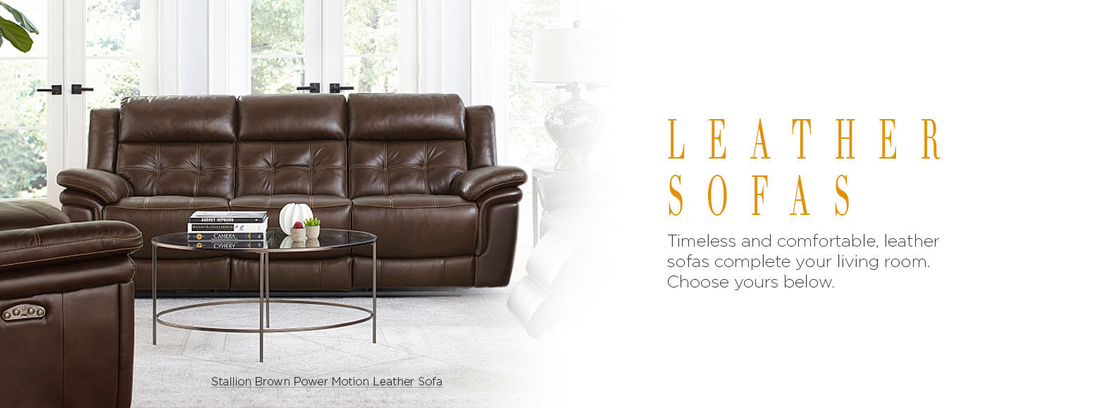 Leather sofas. Timeless and comfortable, leather sofas complete your living room. Choose yours below. Stallion Brown Power Motion Leather Sofa.