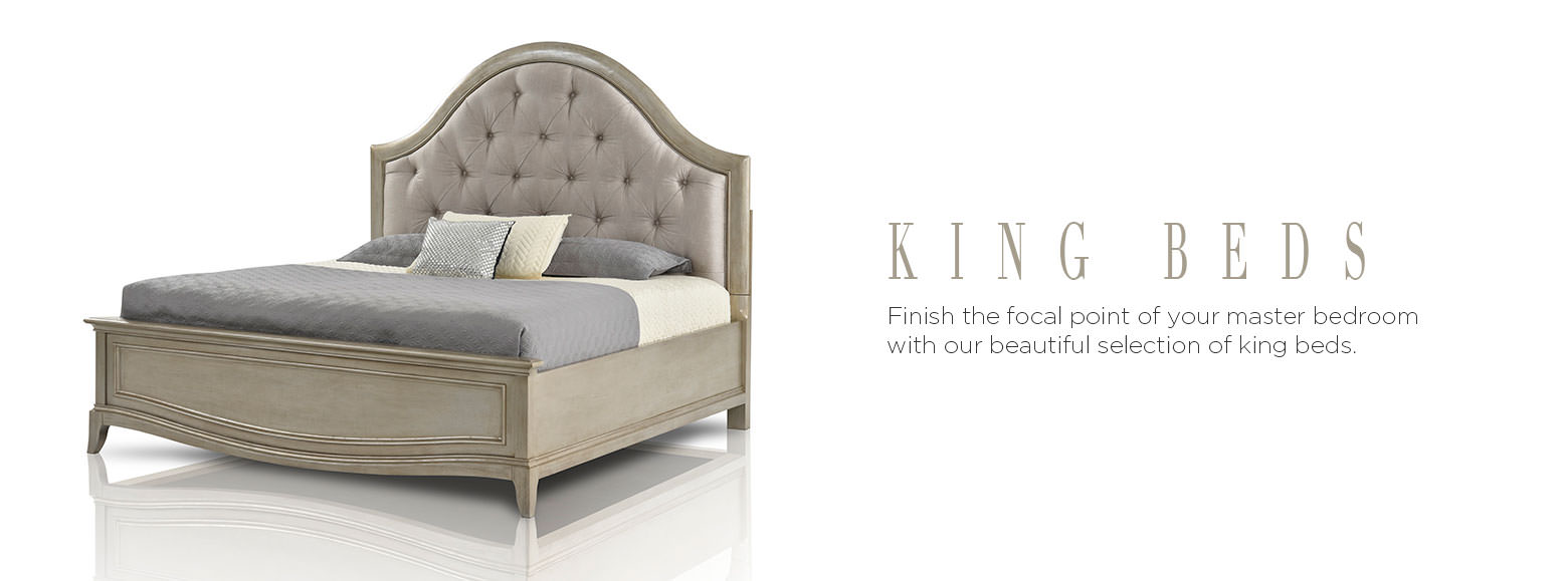 King beds. Finish the focal point of your master bedroom with our beautiful selection of king beds.