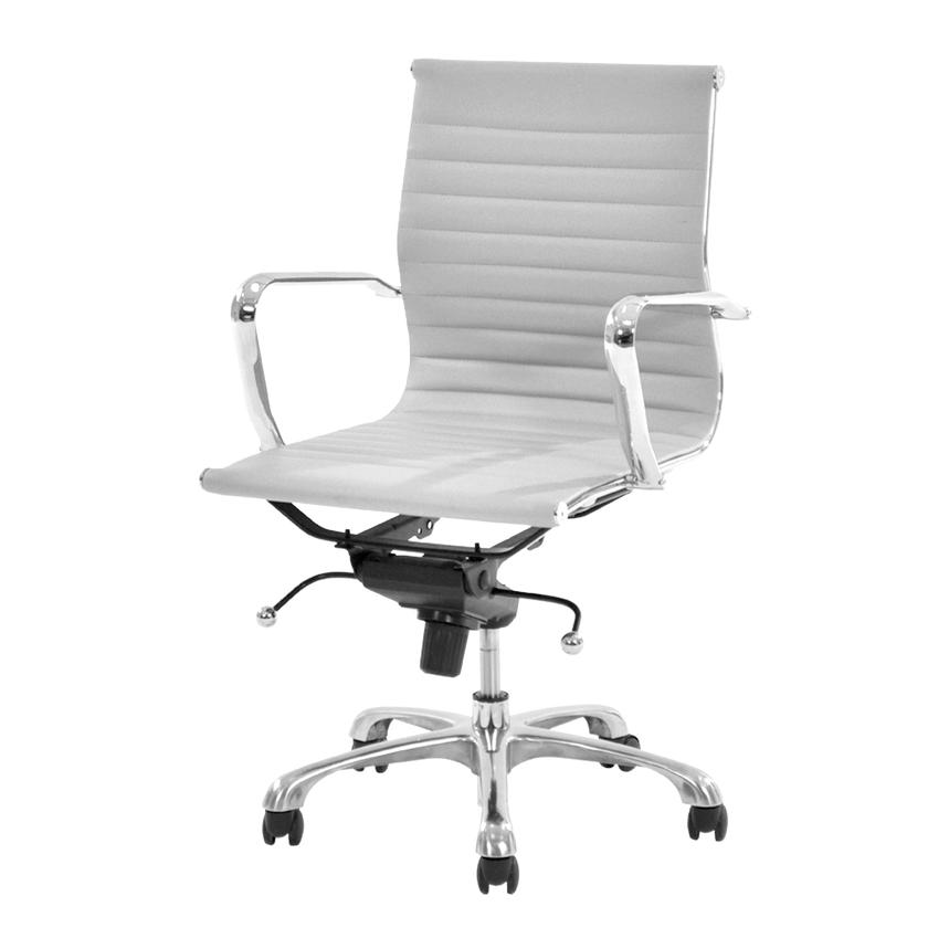 Watson White Low Back Desk Chair  main image, 1 of 7 images.