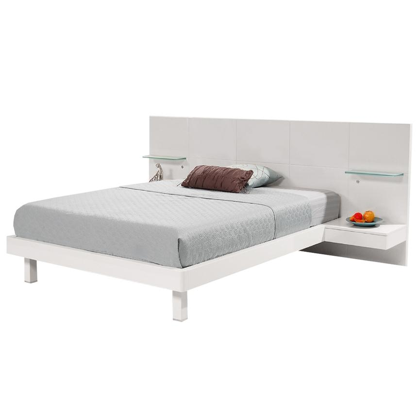 Chico White Full Platform Bed w/Nightstands  main image, 1 of 7 images.