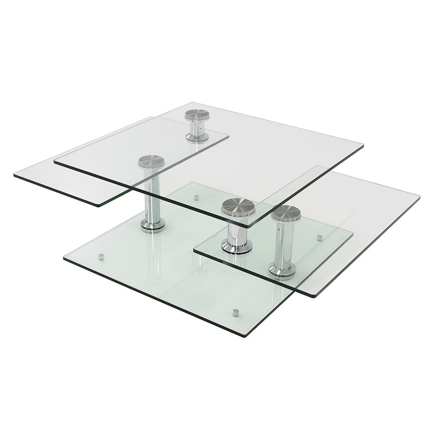 Square Clear Silver Motion Coffee Table  main image, 1 of 8 images.