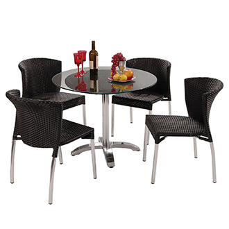 Gerald Black 5-Piece Patio Set w/10mm Glass Top
