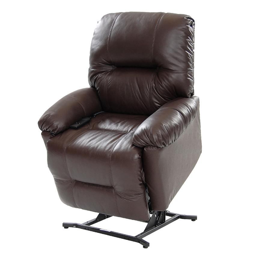Wynette Brown Power-Lift Leather Recliner  main image, 1 of 10 images.