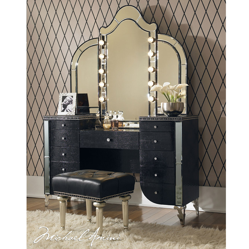 Hollywood Swank Black Vanity Bench  alternate image, 6 of 6 images.