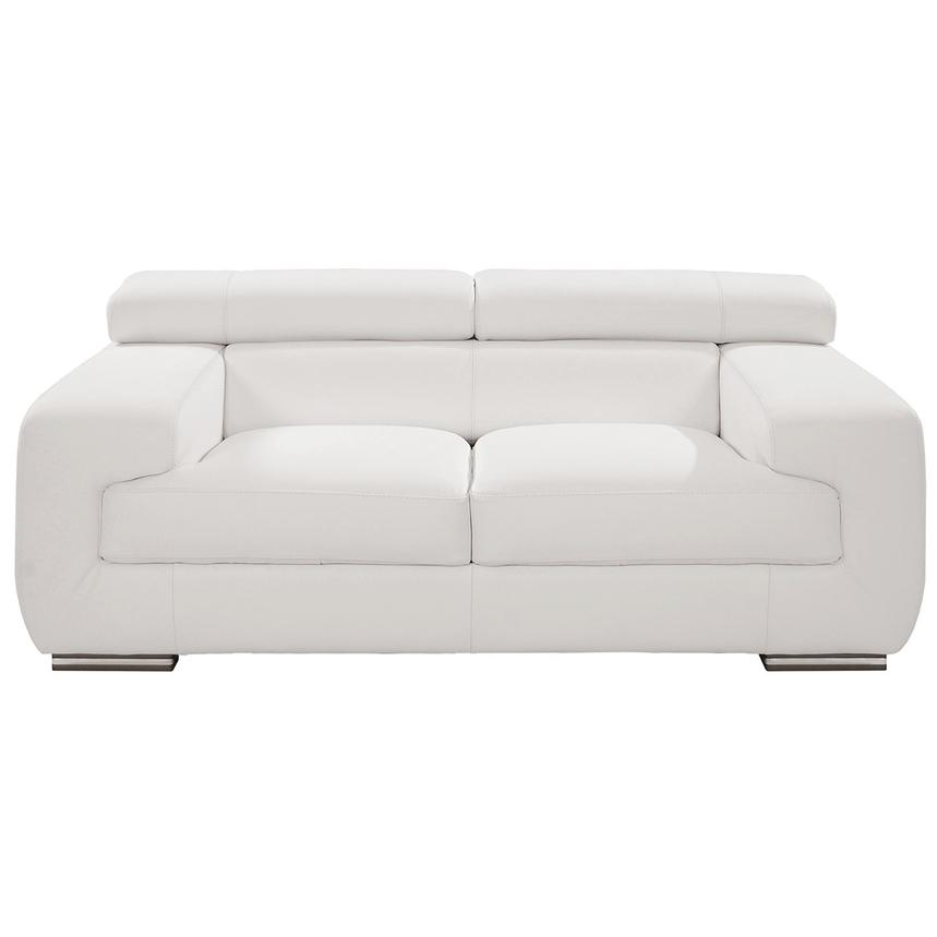 Grace White Leather Loveseat  main image, 1 of 8 images.