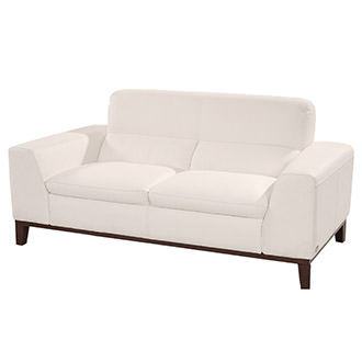 Milani White Leather Loveseat