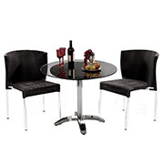 Gerald Black 3-Piece Patio Set w/10mm Glass Top  main image, 1 of 10 images.