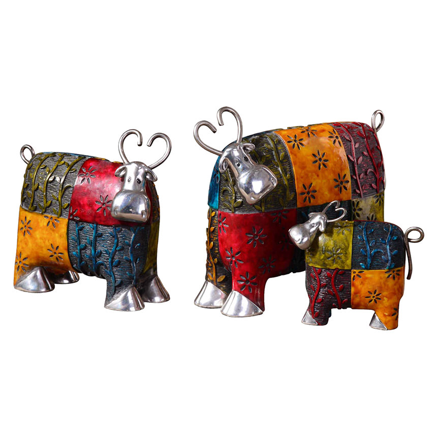 Colorful Cows Set of 3 Figures