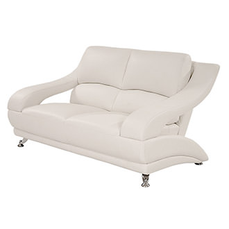 Jedda White Leather Loveseat