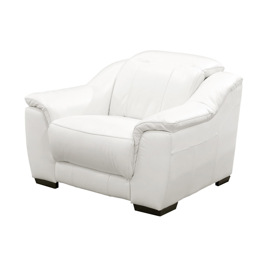 Davis White Power Motion Leather Recliner  main image, 1 of 10 images.